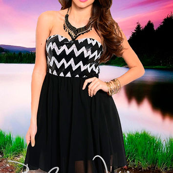 """Our Song"" Sequined Chevron Dress"