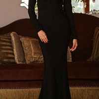 Black Plunging Neckline Long Sleeve Mermaid Dress