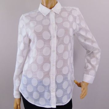 Polka Dot Chico's Size 0 Shirt White On White Long Sleeve Button Down Top Sz S