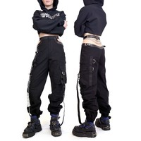 CUT OUT WORKWEAR PANTS WITH LEATHER AND CHAIN DETAILING