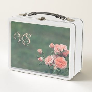Beautiful pink roses. Add monogram. Metal Lunch Box