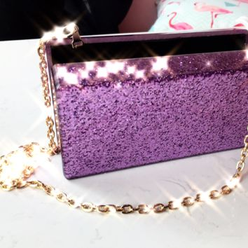 Purple Glitter Acrylic Box Clutch
