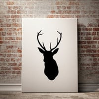 PRINTABLE ART Deer Art Print Black Deer Black And White Printable Art Black and White Design Animal Art Art Print Home Decor Room Decor