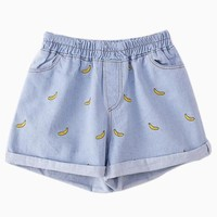 Elastic Waist Embroidery Banana Denim Shorts in Light Blue - Choies.com