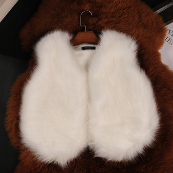Artificial fur vest coat flush White
