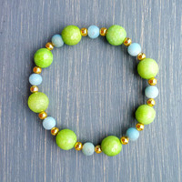 Lime Green & Aqua Amazonite Bracelet
