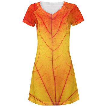 Halloween Autumn Fall Leaf Costume All Over Juniors V-Neck Dress