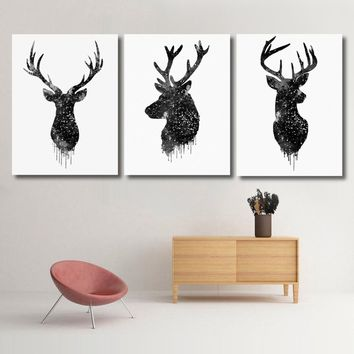 Fashion Deer Head Animal Minimalist Canvas Poster Watercolor Painting Wall Decor 20''x16'' NO Frame