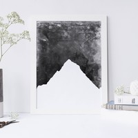 Black + White Mountain Wall Art Print