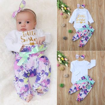 US Stock 3pcs Newborn Kid Baby Girl Floral Clothes Romper Bodysuit Pants Outfits