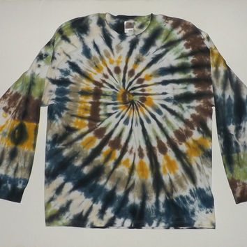 2xl Long Sleeve Tie Dye T-Shirt - Swirl w/ Black - CHOOSE ANY COLORS