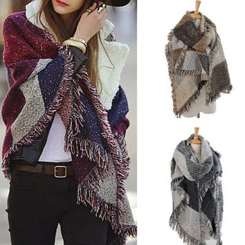 Women's Winter Fashion Plaid Long Scarf Bordered Diamond Shawl Wool Cashmere blanket