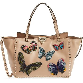 VALENTINO GARAVANI Medium Beaded Butterfly Leather Tote | Nordstrom