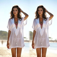 Hot Fashion Women Plus Sexy V-Neck See-through Loose Mini Bikini Cover-up Swimwear W_C (Size: M, Color: White) = 1956418756