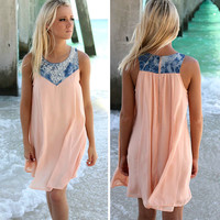 Denim Patchwork Chiffon Beach Dress
