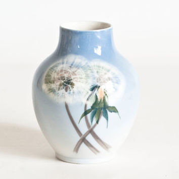 Vintage Small Royal Copenhagen Dandelion Puff Bud Vase, 1950s Mini Hand Painted Danish Pottery