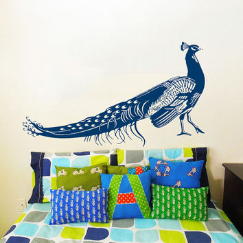 Wall Decal Vinyl Sticker Decals Art Home Decor Design Mural Peacock Bird Feather Tail Fashion Bedroom Dorm AN96
