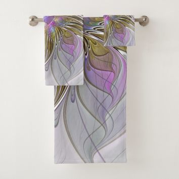 Floral Colorful Abstract Fractal With Pink & Gold Bath Towel Set