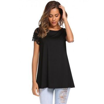 Lace Patchwork Short Sleeve Long Loose Tops