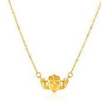 14K Yellow Gold Love Loyalty Friendship Irish Claddagh Necklace Pendant