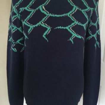 NWT $373 Just Cavalli Mens Crewneck Sweater Blue Size M Made in Italy