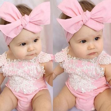 Newborn Infant Baby Girls Bodysuits Flower Pink Jumpsuit Headband Outfits Baby Clothing Sunsuit Lace Floral Clothes 0-18M