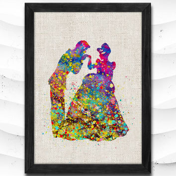 Cinderella with Prince Disney Princess Watercolor Wedding Gift idea Girls Wall Art Home Decor Wall Hanging Linen Poster CAP21