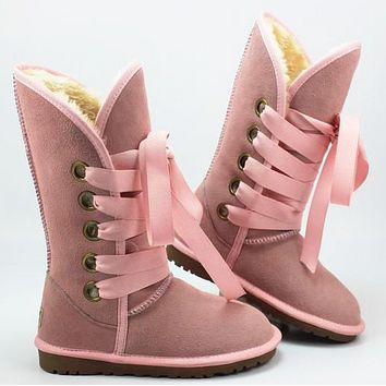 UGG Hight top snow boots ordinary color series dark pink