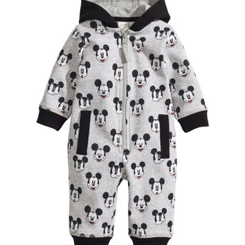 H&M - Sweatshirt Fabric Jumpsuit - Grey/Mickey Mouse - Kids