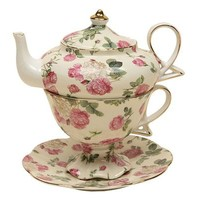 Gracie China by Coastline Imports 4-Piece Porcelain Tea for One, Stacked Teapot Cup Saucer, Pink Rose Bouquet Chintz