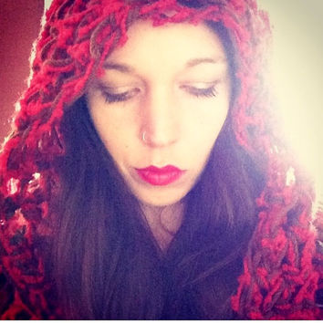 Red Handmade Crocheted Fringed Hooded Cowl,Shawl,Red Hood,Hippie Hood,
