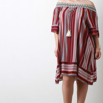 Embroidered Tribal Print Off-The-Shoulder A-Line Dress