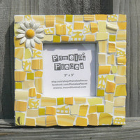 Yellow Daisy Broken China Mosaic Picture Frame