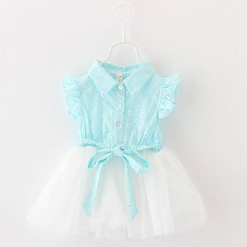Summer 2017 Newborn Dress Kids Baby Clothes Cotton Lace Beautiful Floral Dresses Casual Oufits for Infant Pink Green Clothing