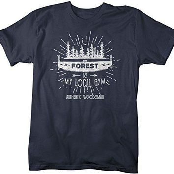 Men's Funny Lumberjack T-Shirt The Forest Local Gym Woodsman Tee Shirt