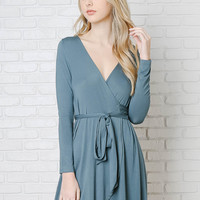 Teal Wrap-Front Dress-FINAL SALE