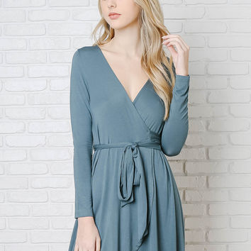 Teal Wrap-Front Dress