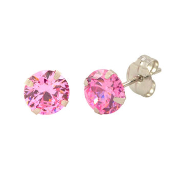 14k White Gold Pink CZ Earrings Round Cubic Zirconia October Birthstone  Studs a718a68f8486
