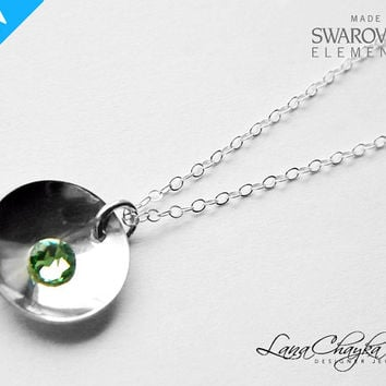 Sterling Silver Necklace, 925 Sterling Silver Green Charm Necklace, Swarovski Peridot, Wedding Silver Light Green Rhinestone Necklace