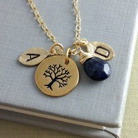 Christmas Gift, Family Necklace, Initial Birthstone Jewelry, Tree