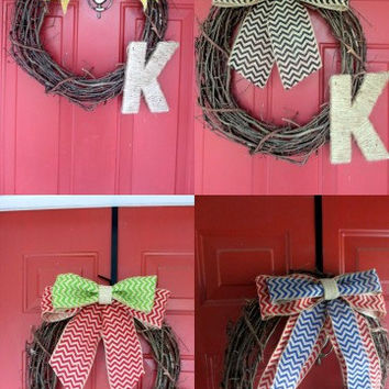 Year Round Wreath Grapevine Wreath - Monogrammed Door Decor - Chevron Burlap Bow - Twine Letter - Interchangeable Bows