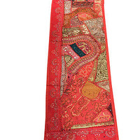 ETHNIC INDIAN PATCHWORK TABLE RUNNER RED ZARI EMBROIDERED WALL ART TABLE THROW