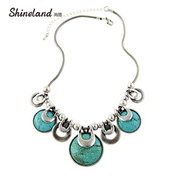 Choker Necklace For Women 2018 New Fashion Ethnic Vintage Accessories Natural Stones Chunky Chains Statement Necklace Jewelry