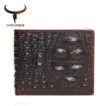Genuine Leather Men's Crocodile Print Designer Wallet