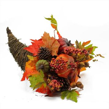 "24"" Autumn Harvest Decorative Artificial Berries  Leaves  Pine Cones and Twigs Wreath Unlit"