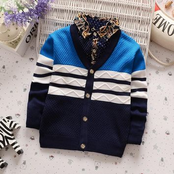 BibiCola New Boys Winter Autumn  Sweater Baby Boy Clothes Casual V Neck Cardigan Sweater Children Clothing Outerwear 001