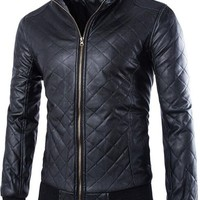 jeansian Men's Fashion Lattice Stand-Collar Leather Jacket Coat 9363