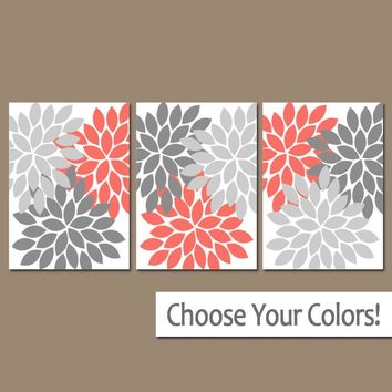 CORAL GRAY Wall Art, Bedroom Wall Decor, Coral Gray Bathroom Decor, Baby Girl Nursery, Flower Burst Dahlia, Set of 3, Canvas or Prints Decor