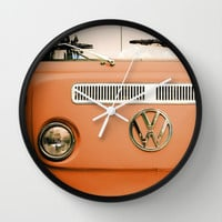 Summer of Love - Celosia Orange Wall Clock by Olivia Joy StClaire