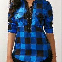 Curved Plaid Print Lace Up Front Blouse | Rosewe.com - USD $30.49